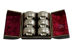 Antique Sterling Silver - Set Of 6 Hayes Brothers Napkin Rings - Boxed - 1891