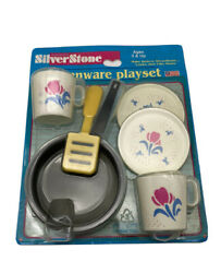 Vintage Toy Cooking Cookware Kitchen Play Set Plates Cup Frying Pan Pretend