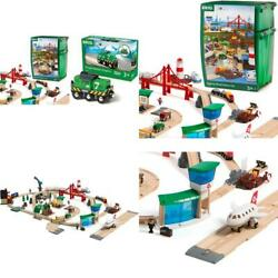 World 33766 Railway World Deluxe Set   Wooden Toy Train Set For Kids Age 3 Up