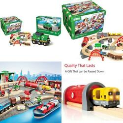 World 33052 Deluxe Railway Set   Wooden Toy Train Set For Kids Age 3 And Up, Gr
