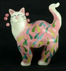 Amy Lacombe WhimsiClay Cat Pink w Multicolor Rain Droplets 2003