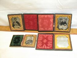 Lot 4 Family Glass Slide Photo Daguerreotype Image Picture Child Baby