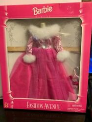 MATTEL FASHION AVENUE DELUXE 14307 PINK EVENING GOWN WHITE FUR TRIM NRFB MINT $19.99