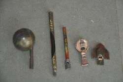 5 Pc Vintage Different Shapes And Size Litho Print Whistle Tin Toys , Japan