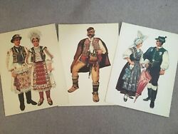 Three Charming Prints Of People In Balkan Traditional Costume By V. Kirin
