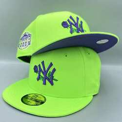New York Yankees Rose Yankee Stadium New Era Neon Green Hat Purple Bottom