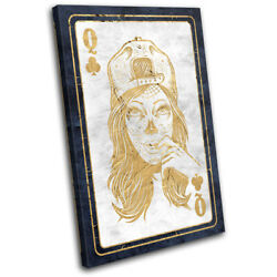 Poker Card Skull Queen Of Clubs Gaming Single Toile Murale Art Photo Print