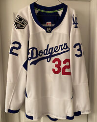 Jonathan Quick Warm-up Worn/used Los Angeles Dodgers/kings Jersey Photo Match