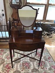 """Small Vintage Wooden Vanity Dresser Beacon Hill Collection 127 54"""" X 27"""" X 15"""""""