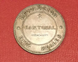 1873 Spain Cantonal 10 Reales-rare Interesting Siege Coin From Spanish Civil War