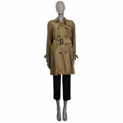 61999 Auth Iridescent Olive Green Polyster Trench Coat Jacket 42 M