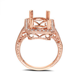 18k Rose Gold Oval 14x10mm Womenand039s Semi Mount Ring Pave Diamonds Vintage Antique