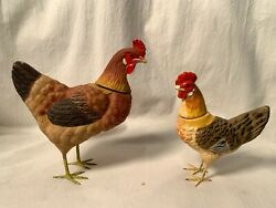 2 Vtg German Composition Paper Mache Rooster And Chicken Candy Containers