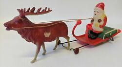 Rare Vintage Occupied Japan Wind-up Celluloid Santa With Sleigh And Reindeer