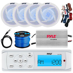 Pyle Plmr14bw Bluetooth Stereo, 4x 6.5'' Led Speakers, Amp W/ Kit, Wire, Antenna