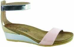 Naot Womenand039s Pixie Wedge 5 Pearl Rose Lthr/champagne Lthr/silver Mirror Lthr