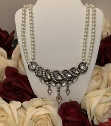 Betsey Johnson crystal rhinestone Pearl Black enamel silver evening necklace $20.66