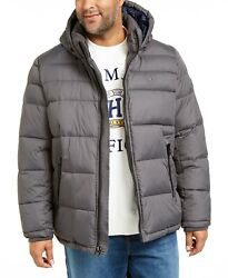 Big And Tall Menand039s Charcoal Gray Quilted Puffer Hooded Jacket 275