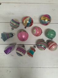 Vintage Glass Christmas Ornaments Set Of 12 In Shiny Brite Box