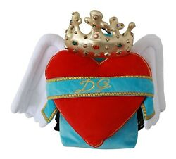 Dolce And Gabbana Bag Red Blue Heart Wings Dg Crown School Backpack Rrp 2500