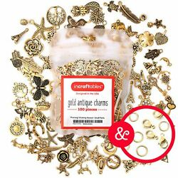 Gold Antique Charms 100 pcs for Jewelry Making with Clasps by Incraftables