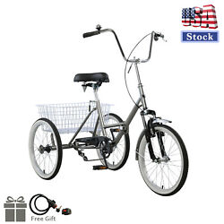 Adult Folding Tricycle Bike 3 Wheeler Bicycle Portable Tricycle 20 Wheels Gray