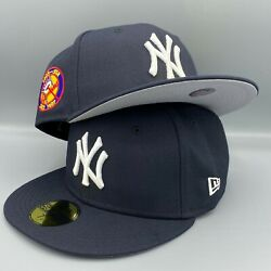 New York Yankees 50th Anniversary New Era MLB Fitted Navy Blue Hat Gray Bottom