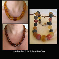 Honey Or Multicolor Amber And Coral Sterling Silver Handmade Bead Necklace Beaded