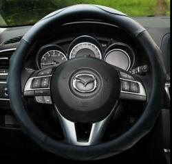 Red Car Steering Wheel Cover Leather Pu Non-slip Breathable Sports 14.5-15in