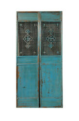 Pair Chinese Antique Tall Blue Flower Carving Screen Panel Wk2277