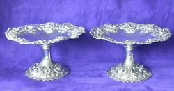 Antique Pair S. Kirk And Son 925/1000 Co Mark Sterling Silver Repousse Compotes