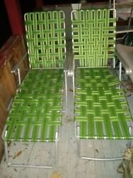 Lot Of Two Vintage Aluminum Folding Lawn Lounge Chairs