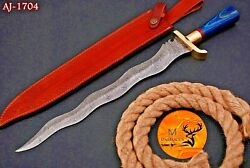 19 Hand Forged Damascus Steel Sword With Wood And Brass Guard Handle - Aj 1704