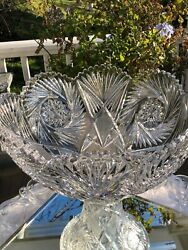 Antique Glass Punch Bowl Onpedestal /silver Plate Ladle 12 Etched Cups Ah.heisey