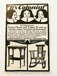 C1890s Colonial Furniture Co.tableandrocking Chair Vtg Print Adgrand Rapids,mich.
