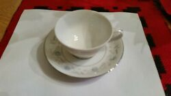 Fine China Japan English Garden 1221 Platinum Footed Cups And Saucers -set Of 4ea