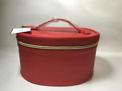 Makeup Cosmetic Bag TRAIN CASE Faux Leather Zipper Storage RED Large NEW $12.99