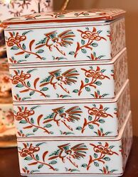 4 Pc Vintage Porcelain Japan Stacked Box Lunch Dinner Boxes Unused Hand Painted
