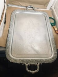 Lg. Antique Silver Plate Forbes Silver Co. Vintage Serving Tray Dated And Signed