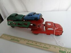 Antique, 1940s Marx Truck And Trailer, W/cars.