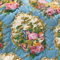 Vintage Queen French Quilt 9 Pounds Blue Pink Floral Toile Design Heavy