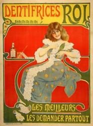 Dentifrices Roi 1890's Toothpaste Original French Poster On Linen Dentist Poster