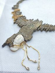 Beautiful 925 Necklace With Diamonds And Gold Very Unique Erte