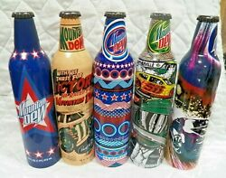 Five 2008 Mountain Dew Label Art Aluminum Soda Bottles Cans By Pepsi All Full