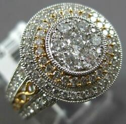 Large 1.27ct Diamond 18k White And Rose Gold Double Halo Filigree Anniversary Ring