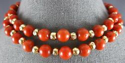 Estate Long Aaa Coral 18kt Yellow Gold 3d Classic Beaded Fun Necklace