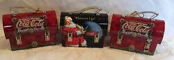 Lot Of 3 Vintage Coca Cola - Tin Mini Lunch Boxes. One Christmas Santa Themed.