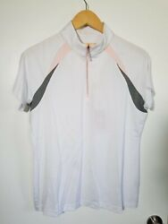 1 Nwt Sport Haley Womenand039s Polo Size Large Color White/gray/pink J172