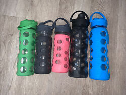 Lifefactory 5 Glass Water Bottles In Silicone Sleeves Bpa Free 20oz 14oz 12oz