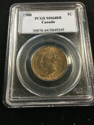 1900 Plain, Pcgs Graded Canadian, Large One Cent, Ms-64